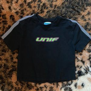 UNIF black/green racer crop top t-shirt Small